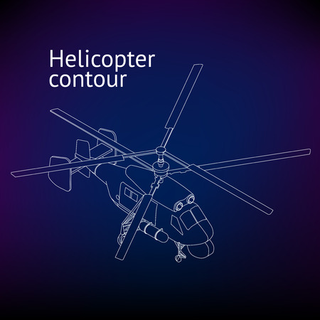 airborne vehicle: Isometric Helicopter vector outline illustration. Helicopter contour. Isometric linear rotorcraft.