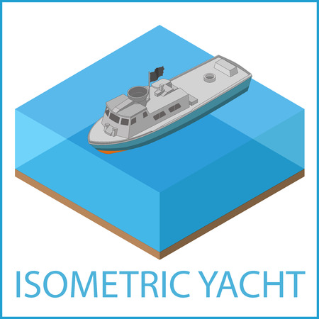 motor: Motor Yacht Icon. Rowboat flat vector illustration. Motorized speedboat isometric. Motorboat isometric flat vector pictogram. Illustration