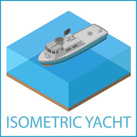 MOTORIZADO: Yate de iconos. ilustración vectorial plana bote de remos. isométrica lancha motorizada. Embarcación a motor pictograma vector plana isométrica. Vectores