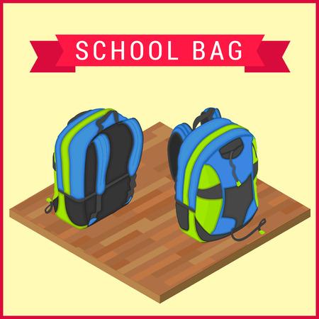 knapsack: Schoolbag flat isometric. Knapsack vector icom. Flapacksack flat pictorgram. Haversack on wooden floor vector illustration. Flat satchel. Rucksack vector. Colorful backpack isometric.