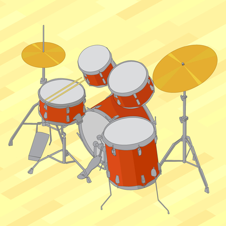 drum kit: Drum set flat isometric picture. Vector illustration of flat isometric drum kit. Drum set flat isometric design vector illustration on yellow background.