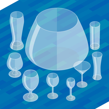 drinkware: Glassware isometric flat icons set. Collection empty glassware simple flat pictograms. Set of transparent glasses goblets, vector icon. Cocktail glasses collection.