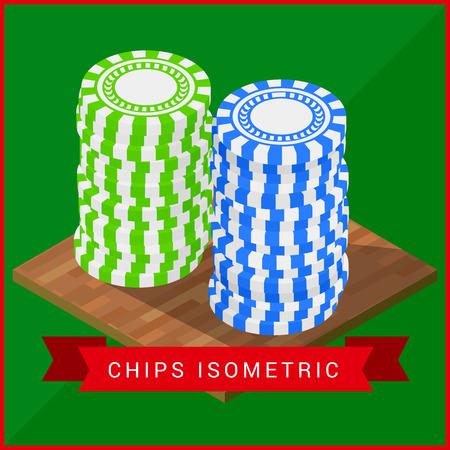 Stacked pocker Chips isometric flat vector 3d illustration. Casino chips symbol. Gambling chips vector. Gambling illustration with poker chips Illustration