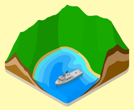 coastline: lagoon isometric. coastline vector. relief flat. topography icon. yacht on sea isometric sign. boat near beach flat vector icon. Mountain  isometric flat vector 3d illustration.