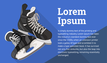 hockey equipment: Ice Skates isometric flat vector 3d illustration. Ice Hockey equipment flat vector icon. Ice-skating isometric pictogram.