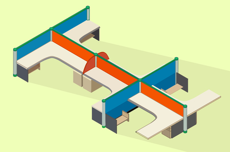 office cubicle: Office furniture workspace isometric flat vector 3d illustration. Empty cubicle workplace. Office desk isometric view. Illustration
