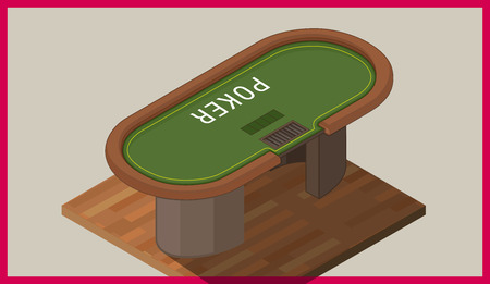 american table: Poker table isometric flat vector 3d illustration. Vector illustration of poker table. with chips. Illustration