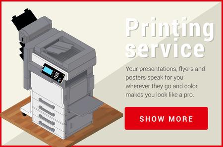Copier printer isometric flat vector 3d illustration. Vector illustration realistic printer and scanner. Printer flat icon. Illustration