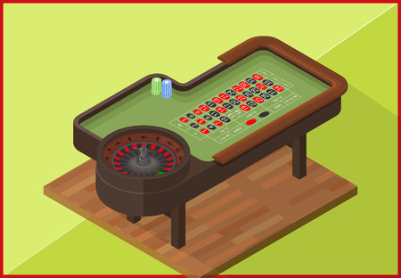 american roulette: Roulette gambling table isometric flat vector 3d illustration. Poker Chips on a gaming with casino roulette. Casino concept.