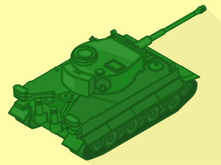 militarily: Tank isometric flat vector 3d illustration. War machine flat pictogram. Tank sign.