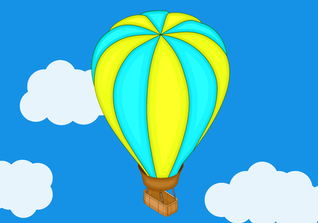 Aerostat balloon isometric flat 3d illustration. Flat design, Hot air balloon in the sky with cloud background. Vintage hot air balloon in the sky