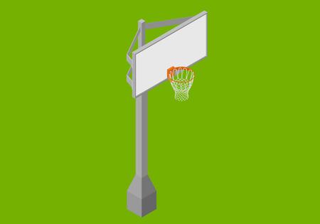 Basketball backboard isometric flat 3d illustration.