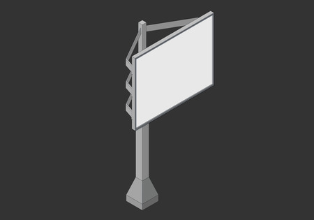 signboard design: Signboard isometric flat 3d illustration. street billboard screen, isometric 3d projection isolated on black background for your advertisement and design.