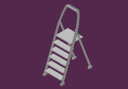 unfolded: Step ladder isometric flat 3d illustration Illustration