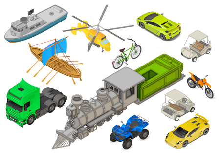 haul: Vehicles set of isometric flat vector 3d illustrations - modern coupe car, yacht, fishing boat, sailboat, yellow helicopter, retro locomotive, bicycle, cargo truck, quad ATV bike. Transport types kit.
