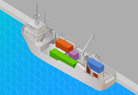 cargo vessel: Cargo vessel isometric view flat vector 3d illustration. Tanker heavy ship with containers icon, vector illustration Illustration