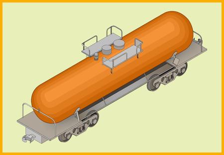 cisterna: Vector ilustraci�n isom�trica del dep�sito de tren cisterna para el transporte de combustible. El transporte ferroviario isom�trica del vector 3d plana.