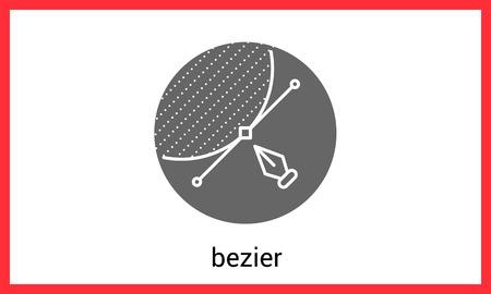 bezier: Bezier curve contour outline icon.