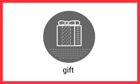 giftware: Gift box contour outline vector icon. Surprise linear pictogram Illustration