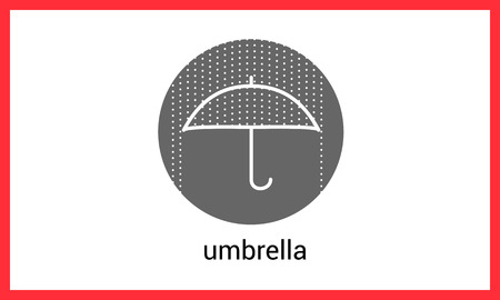 torrential rain: Umbrella contour outline vector icon. Rain protection linear pictogram