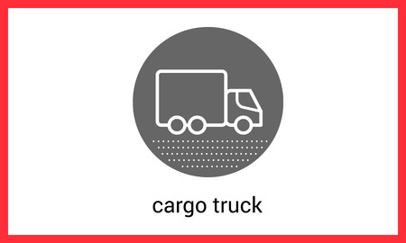 semitruck: Delivery transport contour outline vector icon. Cargo truck linear pictogram