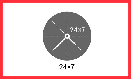 24x7: 24x7 working time contour outline vector icon. Around the clock linear pictogram