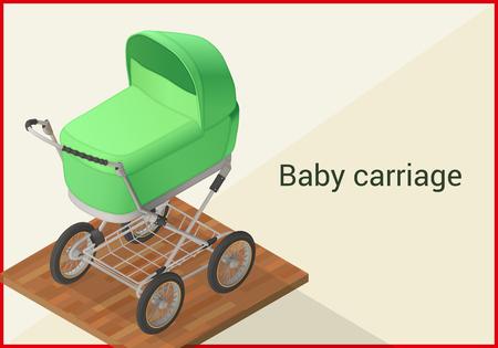 infantile: Baby carriage isometric flat vector 3d illustration Illustration