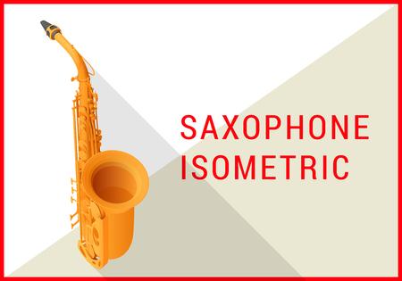 fagot: Saksofon tenorowy izometryczny płaskim 3d ilustracji wektorowych