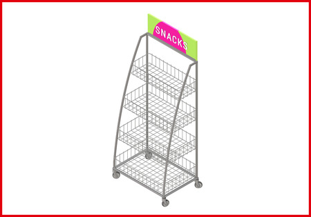 racking: Showcase isometric perspective view flat vector 3d illustration. Empty shelf icon. Illustration