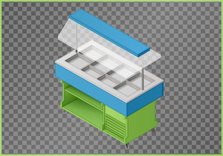 pushcart: Counter flat vector. Stance 3d illustration. Pushcart isometric perspective view.