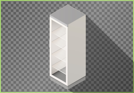 chiller: Refrigerator flat isometric vector. Fridge 3d illustration perspective view Illustration