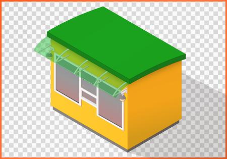 vitrine: Store flat vector. Kiosk 3d illustration. Counter isometric perspective view.
