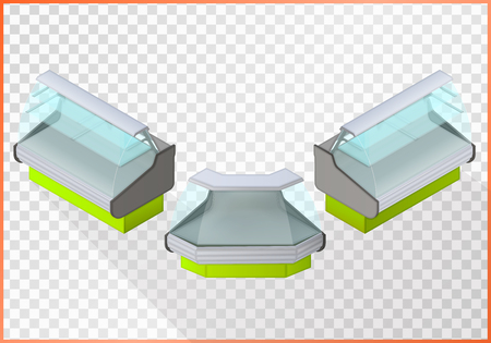 refrigerated: Refrigerated counter vector 3d illustration. Shop equipment isometric perspective view. Illustration