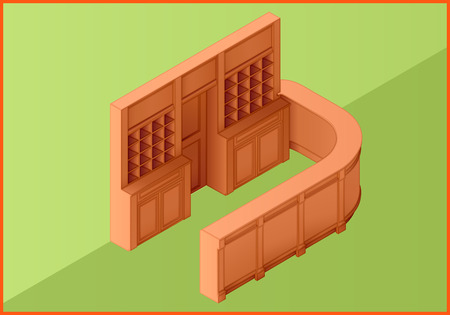 reception table: Reception hotel table flat isometric perspective view 3d illustration