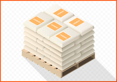 work crate: Stacked cement sacks 3d flat illustration. Bags with concrete isometric view.