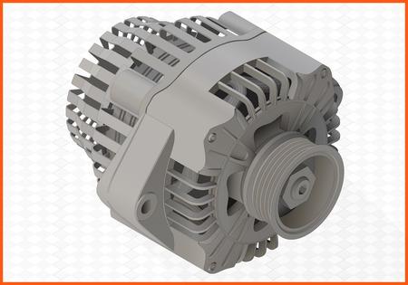 inductor: alternator isometric perspective view flat 3d illustration Illustration