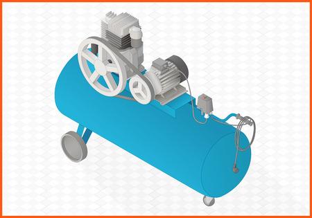 compresseur pneumatique vue en perspective isométrique plat 3d illustration Vecteurs