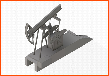 boring rig: oil rocker isometric perspective view flat 3d illustration