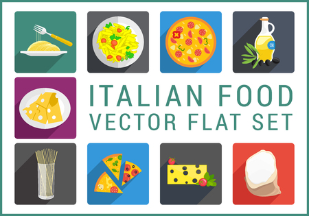 continental food: Italian food flat modern icons set. Collection of various catering pictograms
