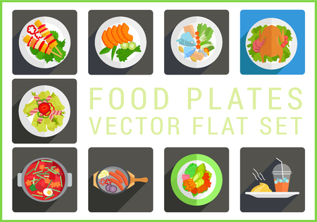 fillet: Main dishes flat modern icons set. Collection of various food plates pictograms. Illustration