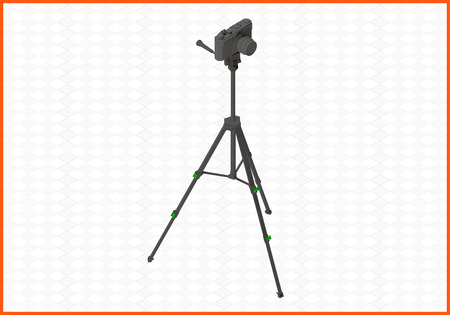 digicam: photocamera tripod isometric flat 3d illustration. camera on tripod isolated on white background.
