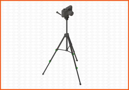 trivet: photocamera tripod isometric flat 3d illustration. camera on tripod isolated on white background.
