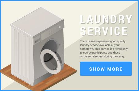capacious: washing machine isometric flat 3d illustration Illustration