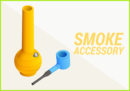 tabacco: smoke accessories isometric flat 3d illustration. bong and pipe icons.