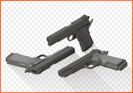 gunfire: Handgun isometric illustration set. Pistols flat 3d isolated on white background