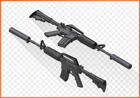 assault: assault carbine m4a1 isometric. M16 rifle3d illustration. M16a2 isolated on white background