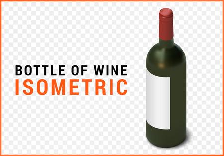 bottle of wine isometric flat 3d illustration isolated on white background