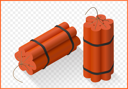 Red Dynamite bomb isometric flat 3d illustration isolated on white background