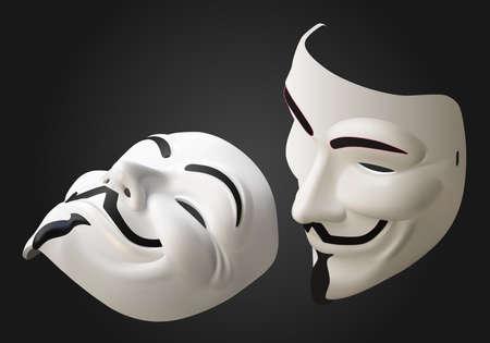 fawkes: anonymous hacker mask isometric flat vector 3d illustration isolated on white background Illustration