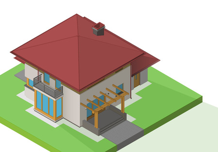 suburban house: suburban house exterior isometric flat vector. Mansion 3d illustration. Cottage isolated on white background Illustration